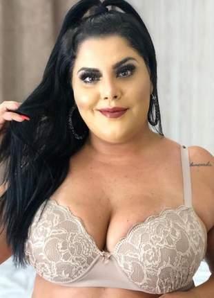 Sutiã renda plus size luxo 48 50 52 lingerie preto bege