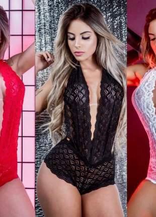 Body decote renda luxo lingerie p m g gg preto branco vermelho