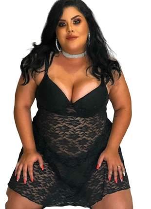 Camisola plus size renda bojo decote lingerie 46 48 50 52 54