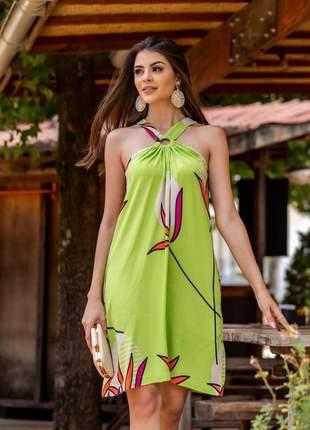 Vestido frente única verde
