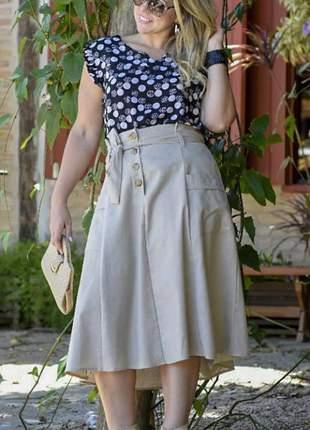 Saia feminina midi social moda evangélica botões linho plus size laço
