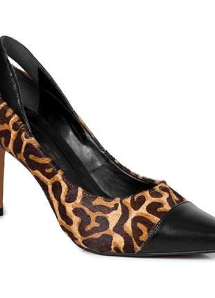 Sapato scarpin feminino salto alto animal print