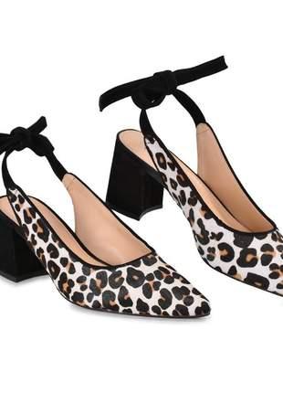 Sapato feminino slingback animal print