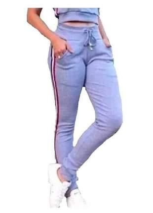 Calça ribana feminina moletom com barra bolso