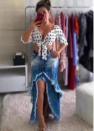 Saia longa jeans babado