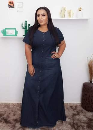 Vestido jeans longo com botões feminino em jeans