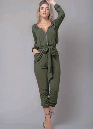 Macacão luxo com capuz manga longa laço na cintura verde militar viscolycra