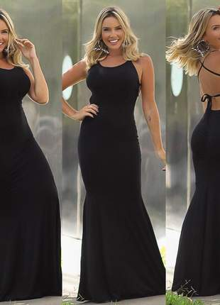 Vestido longo sereia preto