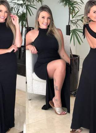 Vestido longo fendado amarra nas costas preto viscolycra