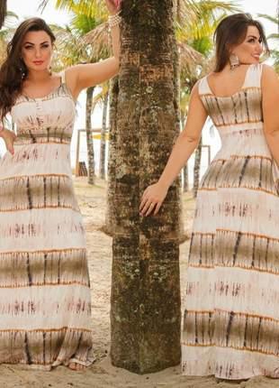 Vestido longo tie dye de alcinha com fivela