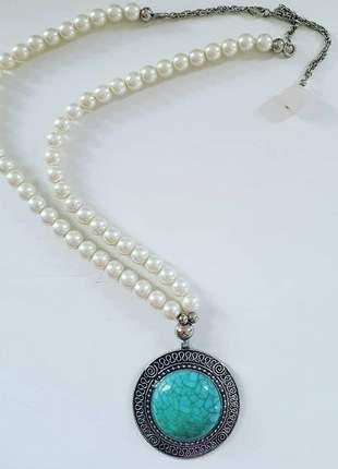 Colar perola medalhão turquesa luxo