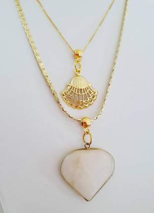 Kit colar coração pedra rosa gargantinha concha ouro 18 k
