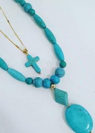 Kit colar pedra turquesa gargantilha cruz ouro 18k
