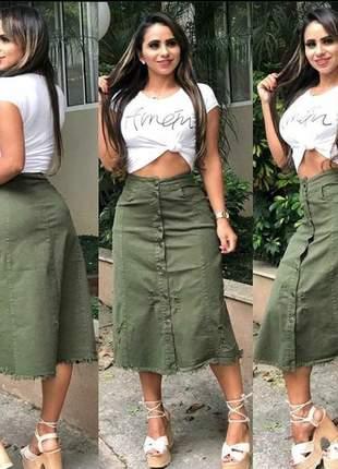 Saia midi sarja feminina verde militar botão bolsos