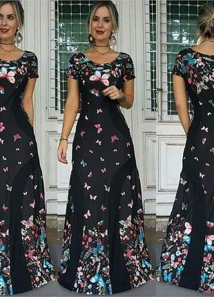 Vestido longo estampa de borboleta manga curta faixa lateral