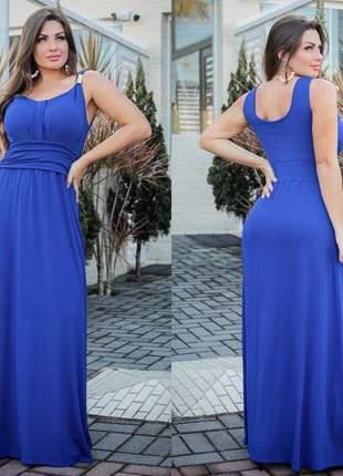 Vestido longo casual alça com fivela azul royal viscolycra