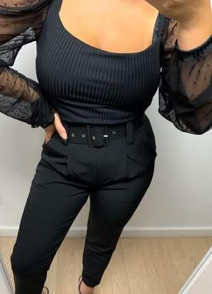 Calça social feminina alfaiataria com cinto encapado forrado preto