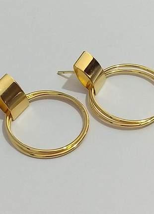 Brinco argola frontal dupla dourado