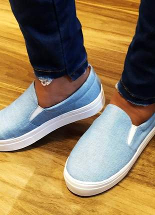 Slip on tenis feminino casual jeans  32 ao 40