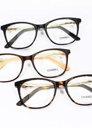 Armação de óculos quadrada chanel 80597 pérola