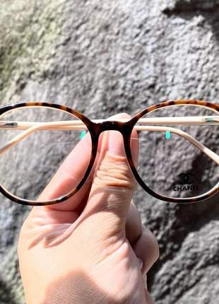 Armação de óculos redonda chanel ch58663 marrom tartaruga