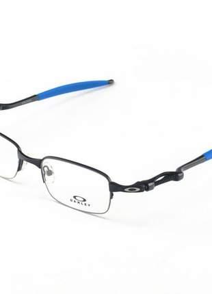 Armacao de óculos oakley coilover ox5043 preto e azul