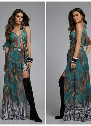 Conjunto vestido justo com saia longa 18088