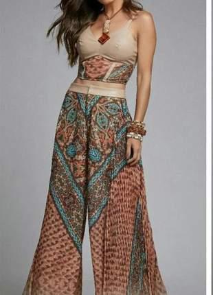 Conjunto top e calça pantalona  plissada 18230