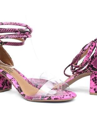 Sandália feminina rosa salto grosso amarração acrílico