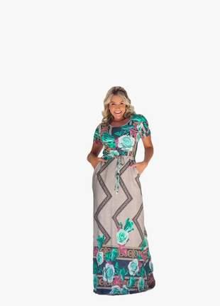 Vestido longo soltinho moda evangelica franzido na cintura amarra na cintura elegante