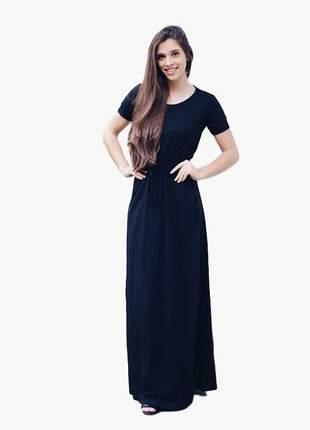 Vestido longo soltinho preto amarra na cintura com bolso lançamento