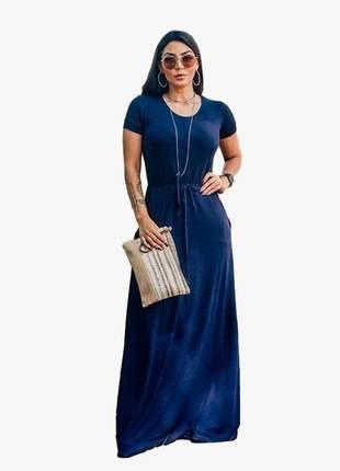 Vestido longo azul soltinho acinturado franzido amarra na cintura manga curta fashion