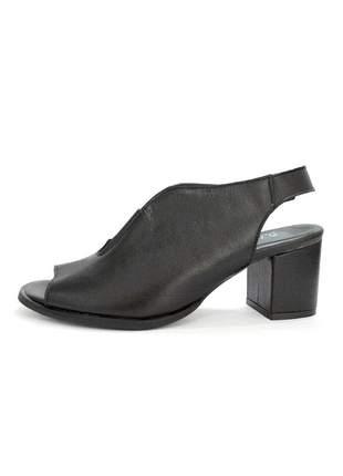 Sandália couro dali shoes open e salto grosso
