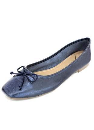 Sapatilha couro dali shoes bailarina azul marinho metalizado