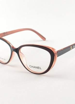Armacao de óculos gatinho chanel x3253 preto e rosa