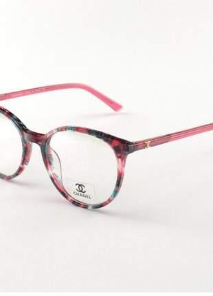 Armacao de óculos redonda chanel x1336 rosa floral