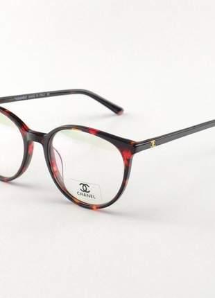 Armacao de óculos redonda chanel x1336 tartaruga