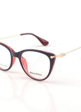 Armacao de óculos feminino miu miu 58589 azul e vermelho