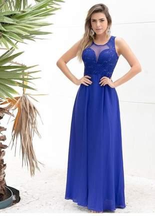 Lindo vestido longo de festa azul royal madrinha casamento