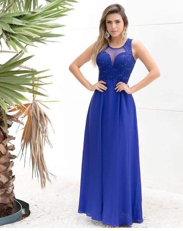 c367c1071336e Lindo vestido longo de festa azul royal madrinha casamento - R ...