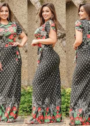 Vestido longo soltinho estampa floral amarra laço na cintura comportado fashion