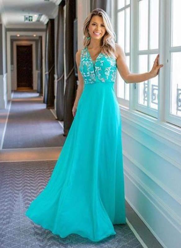 Vestido Festa Longo Tiffany Com Renda Madrinha Formatura Casamento