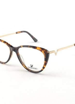 Oculos armação de grau swarovski sk5232 marrom tartaruga