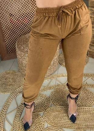 Calça suede feminina cintura alta elástico