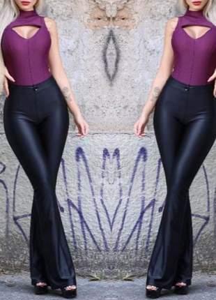 Calça flare cirré feminina cintura alta bolsos