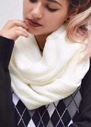 Maxi gola cachecol em tricot feminino duas voltas off white