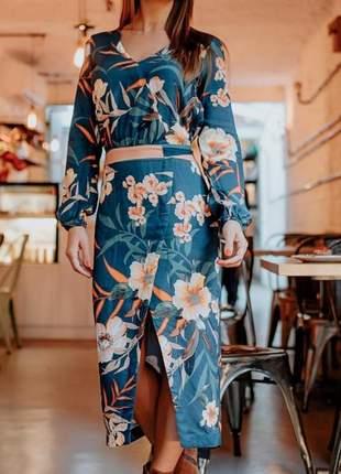 Vestido viscose estampada,com manga comprido.