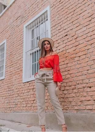 Calça clochard cintura alta cinto laço feminina bolso