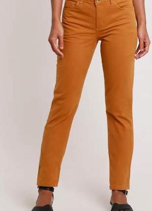 Calça de sarja reta caramelo feminina cintura alta