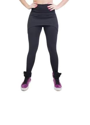 Calça legging com saia preta cintura alta fitness